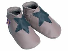 Stella Taupe And Grey. Boys soft leather baby shoes with a choc star on taupe shoes.