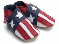 All Stars American Flag Baby Shoes. Unisex soft leather baby shoes. All stars, USA stars and stripes flag and the star spangled banner.