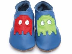 Pixel In Blue. Boys soft leather baby shoes with Pixel design on blue shoes. Retro Arcade action design inspired by Pac Man.