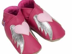 Angel - Fuchsia & Baby Pink. Girls soft leather baby shoes with angel design in fuchsia and baby pink.
