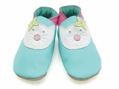 Happy Cat Turquoise, soft leather girls baby shoes in turquoise with happy cat face design.