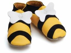 Hunny Bee, soft leather unisex baby shoes in cute hunny bee design