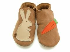 Rabbit & Carrot Sand, soft leather unisex baby shoes, Rabbit and carrot in sand, with fluffy tail feature.