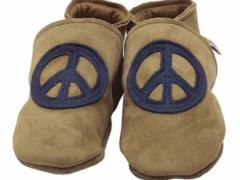 Peacebaby In Sand And Navy. Boys soft leather baby shoes in sand suede with peace baby CND ban the bomb logo in navy.