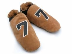 Number Seven. Mens classic Number Seven sports design in leather on sand suede slippers.