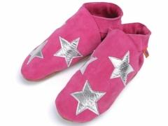 Stargirl In Candy. Ladies silver stars design on candy pink suede slippers.