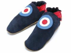 MOD In Navy Triggerfish. Mens classic MOD RAF roundel design in leather on navy suede slippers.