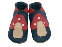 Toadstool Navy. Boys soft leather baby shoes in navy with classic fairytale toadstool.