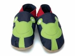 Alien baby shoes in navy and lime