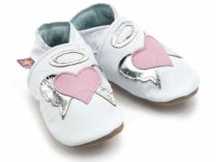 angel heart baby shoes in white