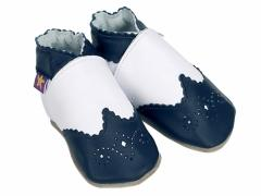 baby brogue in white aND NAVY SOFT LEATHER BABY SHOES