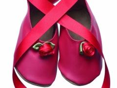 ballerina rose red leather baby shoes