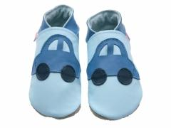 Blue cars on baby blue soft leather baby shoes.