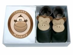 cheeky monkey gift set, soft leather baby shoes with matching organic cotton T shirt