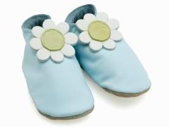 Daisy baby blue shoes with yellow suede flower centre