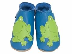frog blue soft leather baby shoes