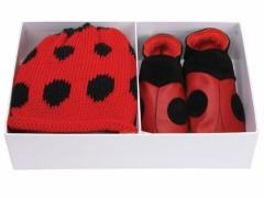 Ladybird red soft leather baby shoes with matching cotton hat in a luxury gift box