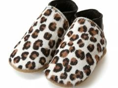 Leopard plain. Soft leather Baby shoes with Hair on cow hide printed in Leopard style animal print.