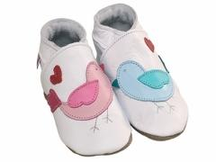 Lovebirds white baby shoes