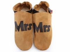 Mrs design ladies shoes in chocolate leather on sand suede shoes