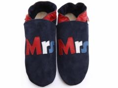 Mrs design ladies shoes in red white and blue leather on navy suede shoes