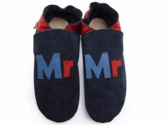 Mrs design mens shoes in red and blue leather on navy