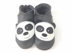 panda grey soft leather baby shoes