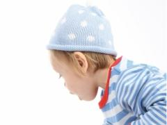polka dot baby blue and white hat
