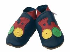 Red choo trains on soft leather navy baby shoes.