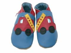 red fire engine on blue soft leather baby shoes