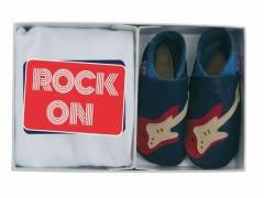 red stratocaster guitars on navy soft leather baby shoes with matchinf ROCK ON organic T shirt in a luxury gift box