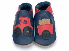Red tractor and trailer on navy soft leather kids shoes.