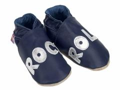 Rock n Roll legend in silver on navy soft leather baby shoes.