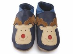 rudolph reindeer in navy soft leather baby shoes from starchild