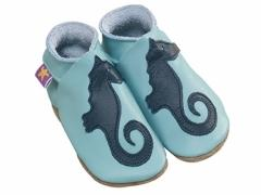 Seahorse baby shoes in aqua and navy