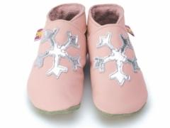snowflake on baby pink starchild soft leather baby shoes