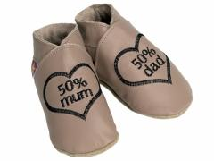 Soft leather baby shoes, 50 percent mum, 50 percent dad embroidered design, on taupe shoes.