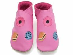 Soft leather baby shoes, All Sorts Sweets design on candy pink shoes.