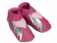 soft leather baby shoes, Angel in fuchsia