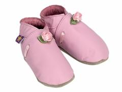 Soft leather baby shoes, baby pink satin roses with leaves and satin ribbon trim on baby pink shoes.