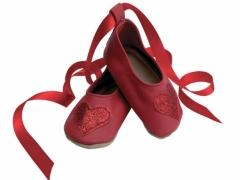 soft leather baby shoes, Ballerina heart with red glitter heart design.