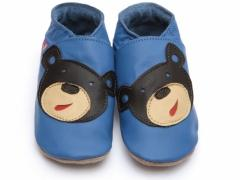 Soft leather baby shoes, Bear face design on blue shoes.