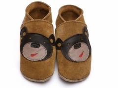 Soft leather baby shoes, Bear face design on brown shoes.