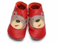 Soft leather baby shoes, Bear face design on red shoes.