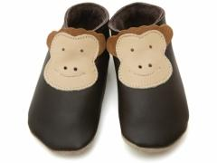 soft leather baby shoes cheeck monkey in chocolate