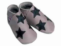 Soft leather baby shoes, chocolate stars on taupe shoes.