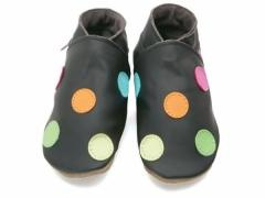 Soft leather baby shoes, Classic polka dot design on chocolate shoes.