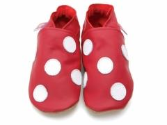 Soft leather baby shoes, Classic polka dot design white spots on red shoes, toadstool style.