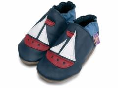 Soft leather baby shoes, classic sailboat design in red and white on navy shoes.