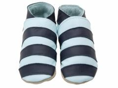 Soft leather baby shoes, classic stripey design in navy on baby blue shoes.